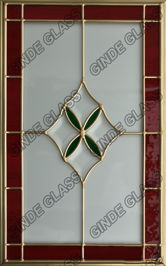 Leaded Glass With Brass For Cabinet Door