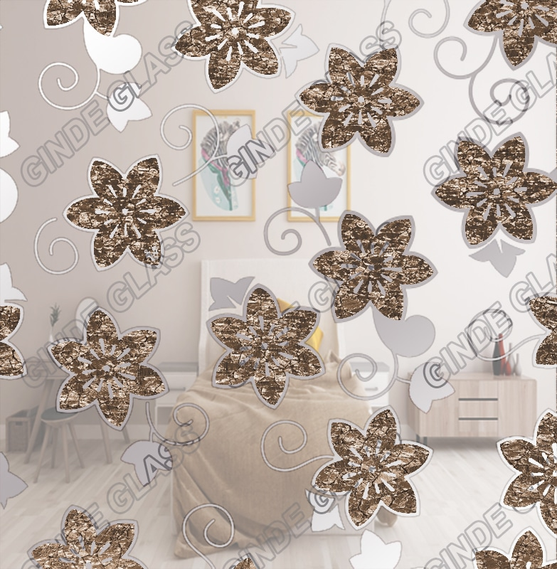 decorative acid etched titanium coated mirror ice flower glass
