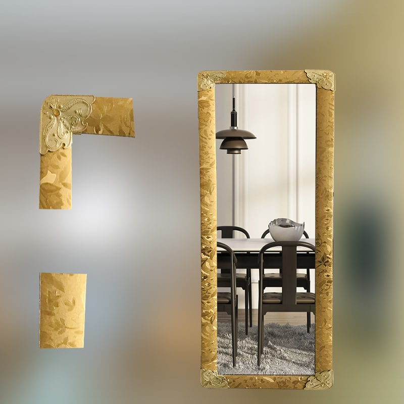 golden color mirror standing mirror